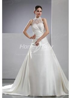 High Neck Court Train Satin Wedding Gowns For Bride