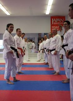 http://charleswoodkarate.com    Shotokan Karate partner exercises lineup, black belts train with junior belts and everyone learns from each other!