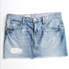"""HPGAP Denim Mini Slightly distressed and perfect for summer. Worn once in brand new condition. Length 13 1/2"""" GAP Skirts Mini"""