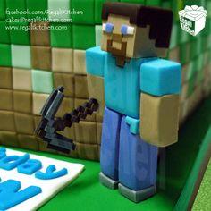 Minecraft Cake_Steve_Pickaxe_Blocks_Squares_PC Game_Gamer_Gaming_Geek_Geeky_Birthday