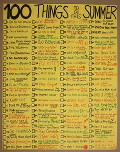 100 Things to do over the summer. I love the simplest things- like dance in the rain and the puppet show.