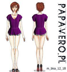Wykrój do pobrania, - peplum top sewing pattern in polish