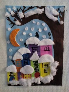 Boom in de sneeuw - diy and crafts Winter Art Projects, Winter Kids, Christmas Crafts For Kids, Xmas Crafts, Christmas Art, Winter Christmas, Projects For Kids, Diy And Crafts, Arts And Crafts