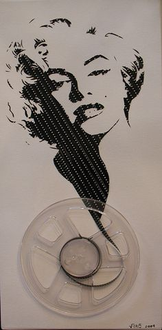 ghost in the machine series by erika iris simmons. marilyn monroe portrait made out of a recycled 8mm film reel.