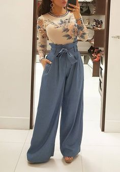 Light Blue Sashes Pockets High Waisted Wide Leg Palazzo Long Pants