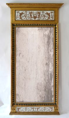 A large late gustavian giltwood mirror by Jonas Frisk (1805-1824), Stockholm, signed. With inset gouaches in the Pompeian style and in the circle of Louis Masreliez.
