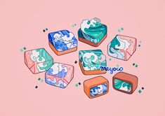 Saltwater sweets<<< I hate myself I automatically thought 'TIDE PODS' Meyoco Aesthetic Drawing, Aesthetic Art, Kawaii Drawings, Cute Drawings, Creation Art, Japon Illustration, Cute Art Styles, Pastel Art, Kawaii Art
