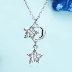 Star And Moon 925 Sterling Silver Necklace
