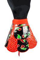 Black Cherry Oilcloth Half Retro Apron