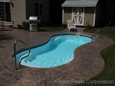 Looking for inground pool coping ideas and cost? Check out pictures and pricing for the four most common types of inground pool coping. Small Outdoor Patios, Backyard Ideas For Small Yards, Backyard Pool Designs, Small Backyard Patio, Sloped Backyard, Modern Backyard, Diy Patio, Swimming Pool Landscaping, Small Swimming Pools