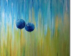 Acryl schilderij Floral Canvas kunst Abstract moderne WALL ART origineel Home Decor blauw groen goud geel Turquoise 24 x 24 x 1, 6 60x60cmx4cm