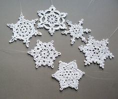 6 Crochet Christmas Decorations Large Snowflake by CaitlinSainio