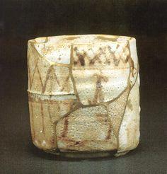 呼び継ぎ「五十三次」 古志野の筒茶碗