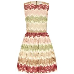 Alice + Olivia Joyce Crew Neck Party Dress (€560) ❤ liked on Polyvore featuring dresses, beige a line dress, j.crew cocktail dresses, alice olivia dress, beige dress and zipper dress