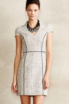 Anthropologie - Elara sheath dress in grey plaid with piping details $295
