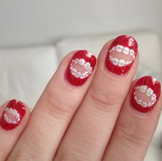 How cool are these nails with braces on them?