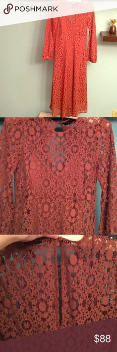 """NWOT ZARA LACE MIDI DRESS Brand new without tags zara lace midi dress. Just purchased this summer for over $100 never worn. Rust/brown romantic lace dress has a little slip inside. Definitely a stunner! Bust is approx 14"""" about 43"""" long Zara Dresses Midi"""
