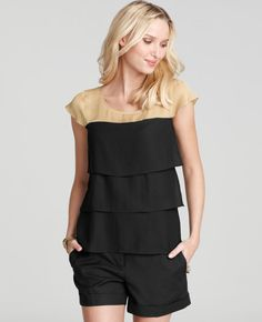 Colorblocked Ruffle Top thestylecure.com