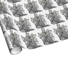 Vintage Father Christmas Illustration Wrapping Paper