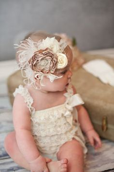 Baby Girl Headband - Baby Headband - Beige Flower Headband  -  Vintage Baby Headband - Flower Girl Headband - Over the Top Headband. $25.00, via Etsy.