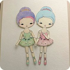 Articulated Paper Doll Prints Iris and Skye by Gingermelon Paper Puppets, Paper Toys, Pencil Art Drawings, Cute Drawings, Craft Booth Displays, Vintage Paper Dolls, Poses, Box Frames, Doll Patterns