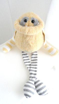Smug Monster plush toy upcycled from by BirdIsTheWordDesign, $30.00