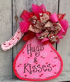 Valentines Sign Valentines Door Hanger Sweetheart Sign Candy Kiss Sign Hugs And