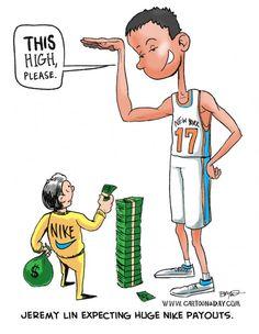 Cartoon Jeremy Lin Expecting Nike Payout