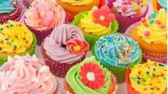 Stock Image of many sweet birthday cupcakes with flowers and butter cream Kid Cupcakes, Baking Cupcakes, Yummy Cupcakes, Birthday Cupcakes, Cupcake Cakes, Cupcake Mix, Sweets Cake, Cupcake Ideas, Food Network Uk