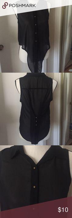 SANS SOUCI black sheer blouse Black sheer sleeveless blouse, ties in front.  Sans Souci Tops Blouses