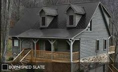 STEEL ROOF - Copper Metallic - ohmygosh i frickin love it. Blueish grey exterior, stone accents, copper roof, but what color trim? Black Metal Roof, Metal Roof Colors, Copper Roof, Exterior Gris, Exterior Siding, Metal Roof Houses, Metal Buildings, Steel Roofing, Tin Roofing