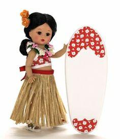 Hawaiian Hula girl w/surfboard Indian Dolls, Hula Girl, Madame Alexander Dolls, Hello Dolly, Vintage Dolls, American Indians, Surfboard, Hawaiian, Minnie Mouse