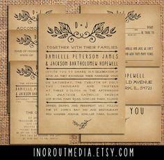 Rustic Wedding Invitation Suite - Laurels, Vintage, Antique, country wedding invitation suite, simple design, program, RSVP cards, insert. $55.00, via Etsy.