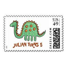 Green Dinosaur Postage Stamps