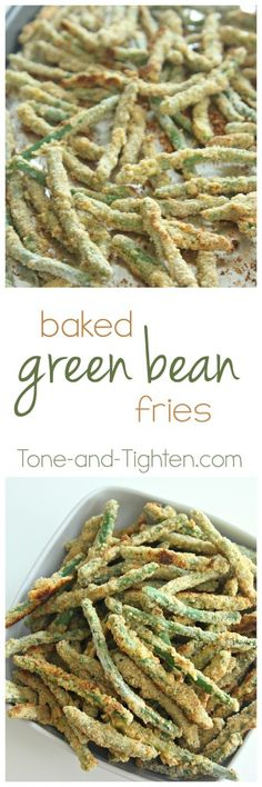 Baked green bean fries - my kids always come back for seconds! | Tone-and-Tighten.com