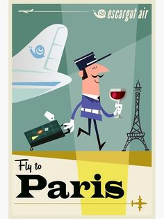 'Fly to .Paris travel poster' Poster by Gary Godel Paris Travel, France Travel, Paris Poster, Poster Poster, France Eiffel Tower, Beach Posters, Ville France, Vintage Travel Posters, Vintage Airline
