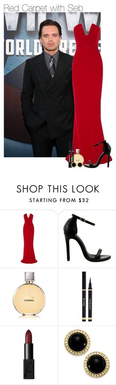"""Red Carpet with Seb"" by thatweirdgirlkris ❤ liked on Polyvore featuring Sebastian Professional, Cushnie Et Ochs, Novo, Chanel, Yves Saint Laurent, NARS Cosmetics, Carolee, imagine, preference and SebastianStan"