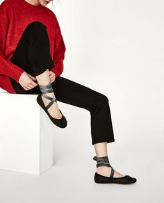 ZARA - WOMAN - LEATHER BALLERINAS WITH INTERCHANGEABLE BOWS