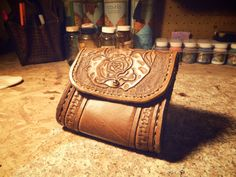 Handcarved Leather Belt Bag    This is a beautiful piece that you can wear with practically anything.    I hand carved this myself in a old time floral fashion.