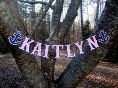 Pink and navy blue anchor Custom Name Letter Banner Anchors Nautical Birthday Party . Baby First Birthday, First Birthday Parties, Birthday Party Themes, Birthday Ideas, Anchor Birthday, Anchor Party, Aaliyah Birthday, Sailor Baby Showers, Girls Party Decorations