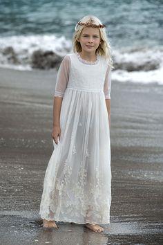 Vestido ocasión especial blanco para niñas