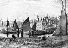 Penzance fishing fleet in harbour before the construction of Wharf Road, 1880 Penzance Cornwall, Tall Ships, Present Day, Fishing Boats, Sailing, Victorian, Construction, Places, People
