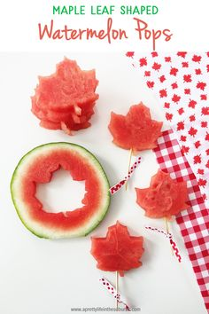 For your Canada Day Party, make these Maple Leaf Shaped Watermelon pieces! Such a simple and fun way to serve watermelon! Canada Day Long Weekend, Canada Day Party, Happy Canada Day, Canada Day Fireworks, Canada Day Crafts, Maple Leaf Cookies, No Waste, Party Snacks, Camp Snacks