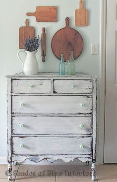 White Chippy Highboy Chest of Drawers Dresser with Jadite Knobs - French Country Farmhouse Shabby Chic