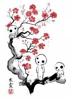"""""""Little forest spirits"""" by Dr.Monekers Inspired by the Kodama from Princess Mononoke Tatuaje Studio Ghibli, Art Studio Ghibli, Studio Ghibli Tattoo, Manga Tattoo, Anime Tattoos, Tatoos, Kodama Tattoo, Mononoke Forest, Arte Van Gogh"""
