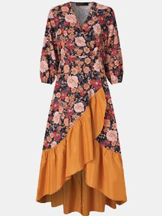 Plus Size Casual, Suits You, Ruffle Dress, Polyester Spandex, Ideias Fashion, Casual Dresses, Floral Prints, Arm, V Neck