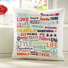 PB Teen pillow inspiration. try your own diy pillows. also if you find a pic on the web u like EG. a moustache. cut it out place the template on a plain pillow case a paint on with fabric paint. use the template as a stencil!