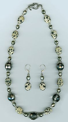 #Fashion jewellery  #N377 necklace set, dalmation jasper and crystals