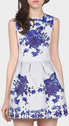 love this White Sleeveless Porcelain Print Flare Dress...if only it was longer