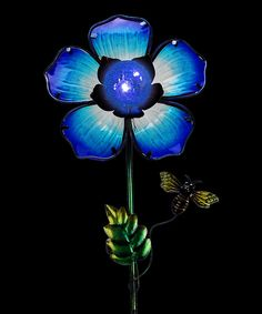 Love this Blue Solar Glass Flower Garden Stake by Exhart on #zulily! #zulilyfinds